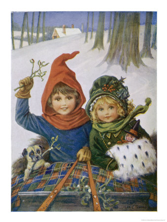 10016811two-children-and-their-dog-in-a-sleigh-posters